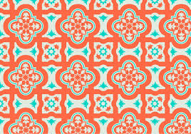 moroccan wrapping paper orange and teal moroccan pattern background vector free