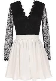 forever yours dress black white long sleeve lace skater dress