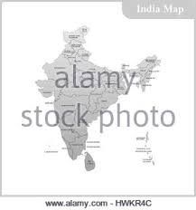the detailed map of the india with regions and sri lanka stock