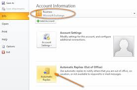 absence bureau outlook outlook auto reply set up out of office autoresponse in outlook