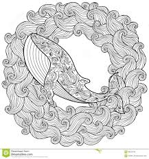hand drawn zentangle whale stock vector image 60783602