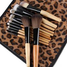 Makeup Set 12 pc brush makeup set w lepoard bag edge product mall