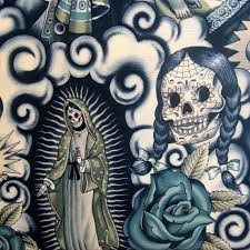 fabric contigo tattoo alexander henry skull day of the dead by