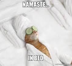 Bed Meme - namaste in bed pered cat meme make a meme