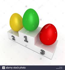 sports easter eggs green easter stage eggs success victory win podium yellow cup