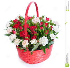 bright flower bouquet in basket stock photo image 20628978