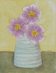 Vase Of Flowers Drawing Mostly Markers Three Purple Flowers In Vase