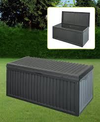 black plastic garden storage box lid patio shed utility cushion