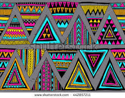 colored tribal vector seamless pattern doodle stock vector