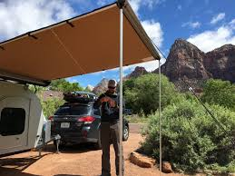 Gidget Bondi For Sale by Arb Awnings On The Treeline Teardrop Camper In Zion National Park