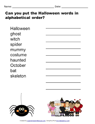 printable halloween alphabetical order