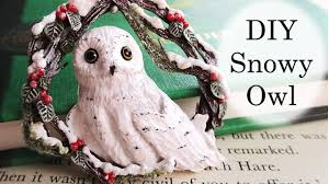 diy polymer clay snowy owl tree decoration tutorial