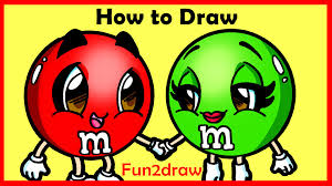 how to draw cartoons m m u0027s candy fun2draw youtube