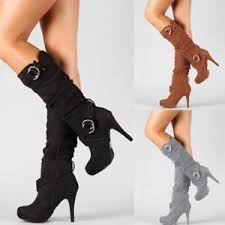 s boots plus size calf s knee high mid calf stiletto heel zip boots suede stretch