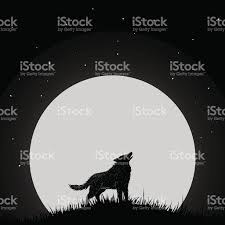 wolf howling at the moon stock vector 632443416 istock