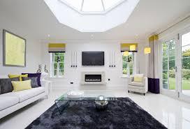 white modern living room white tile floor living room