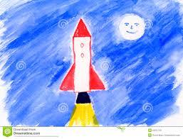 childrens painting rocket artwork stock photos image 20267733