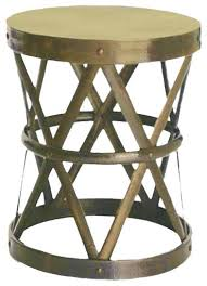 Drum Accent Table Accent Tables Contemporary Hammered Drum Cross Stool Antique Brass