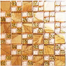 Gold Tile Backsplash Ideas Bathroom Crystal Glass Mosaic Covering - Covering tile backsplash