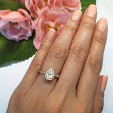 3 engagement ring 1 ctw 3 4 ct pear halo engagement ring classic halo ring