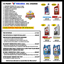 valvoline light bulb replacement coupon valvoline oil change price and additional service pricing