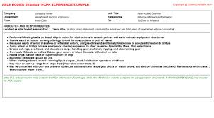 able bodied seaman cv work experience