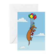 balloon dachshund birthday greeting cards pk of 1 by terrypond