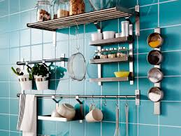 kitchen backsplash blue ceramic tile backsplash with stainless blue ceramic tile backsplash with stainless steel wall mount rack spices jar storage hanging kitchen utensils mugs cups