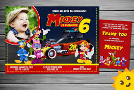 Mickey Mouse Invitation Cards Mickey Mouse And Roadster Racers Invitation Mickey Mouse And