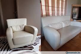 fauteuil et canapé fauteuil et canapé 2 pers cinna en cuir beige a vendre