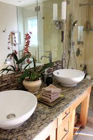 bathroom table top marble stone vase flower mirror bathroom design