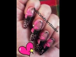 black pink and glitter nail design with 3d flower youtube