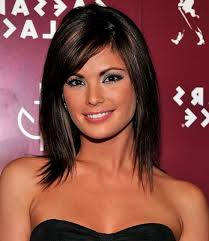 brunette hairstyles wiyh swept away bangs 70 brightest medium layered haircuts to light you up shoulder