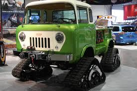 willys jeep truck green bangshift com sema 2014