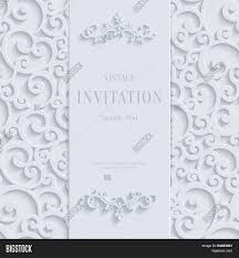 3d Invitation Card Vector White 3d Vintage Invitation Card With Swirl Damask Pattern
