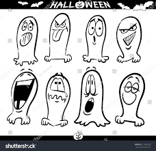 cartoon illustration halloween themes ghosts emotions stock