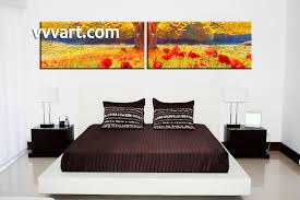 Canvas Painting For Home Decoration by 2 Piece Yellow Scenery Red Flowers Canvas Wall Art