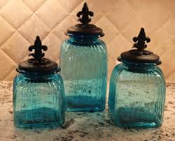 Tuscan Kitchen Canisters Sets Turquoise Glass Kitchen Canisters Kitchen Pinterest