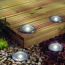 stainless steel solar led light deck ground lights a set of four