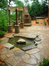 Flagstone Patio With Pergola Fascinating Patio Created On Stone Flooring Enhanced With Small