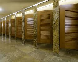 ironwood manufacturing louvered door toilet partition with stone