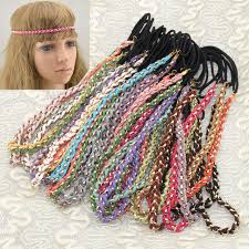hippie bands viva fashion metal chain knitted candy color hippie hair band