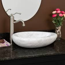 teardrop shape carrara marble vessel sink bathroom