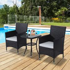 Patio Table Chairs by Outsunny Rattan Furniture Set Bistro Table Chairs Outdoor Garden
