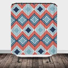 Coral And Navy Curtains Shower Curtain