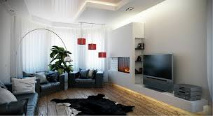 black white red living room integrated tv unit and fireplace