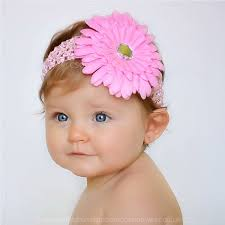 pink headband baby pink gerbara flower headband christening headband