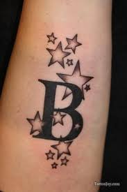 b letter and stars tattoo i would of course change it to