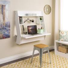 white color modern wall mounted folding laptop desk with bookshelf
