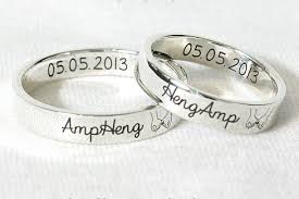 wedding ring with name engraved 4 mm rings personalized silver ring custom engraved